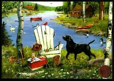 FATHER'S Day Lake Dog Chair Birds Fishing Gear -  Father's Day Greeting Card NEW