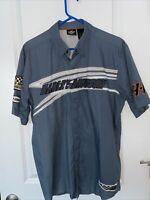 Harley Davidson Garage Shop Shirt Blue Applique Patches Vents Mesh Sz Large