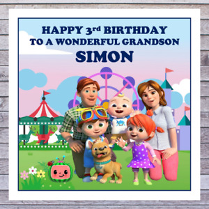 KIDS COCOMELON BIRTHDAY CARDS - personalised with any AGE RELATIONSHIP & NAME
