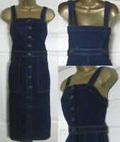 NEW M&S Marks & Spencer £45 Denim Pinafore Dress Bodycon Midi Button Blue 6-22