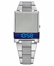 Bulova 96C139 Computron LED Digital Blue Retro Watch Stainless Box & Papers
