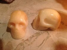 "Hand Carved Orange Calcite Crystal Gemstone Skull,  2"", 95 gms, Reiki, Healing"