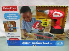 Fisher Price Drillin' Action Tool Set Drill Screws wood Electric Red Tool Box