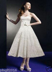 Vintage White/Ivory Lace Tea Length Sweetheart Wedding dress Size6-8-10-12-14-20