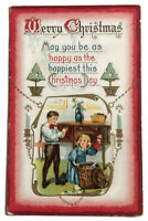 1911 MERRY CHRISTMAS POSTCARD CHILDREN OPENING PRESENTS HAPPY HAPPIEST DAY KIDS