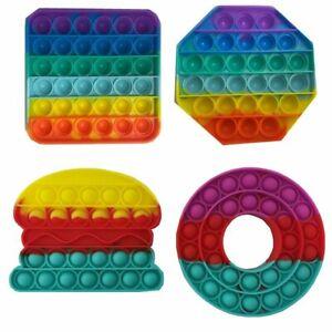 RAINBOW Fidget Popper Simple Dimple Poppit Bubble Sensory Toy For Adult Kids New