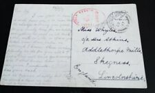 POSTCARD WW1 PASSED FIELD CENSOR, POSTED FROM ITALY TO WHYLES, ADDLETHORPE (85)