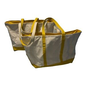 Pair Vintage L.L Bean Boat and Tote Bag Canvas Yellow/Cream Made in USA