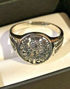Sterling Silver Scottish Thistle Signet Ring..size 7.5