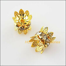 16Pcs Gold Plated Crystal Crown Spacer Beads End Caps 10mm