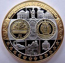 Superbe Médaille  argent et Or - Saint-Marin - première frappe en Euro - BE
