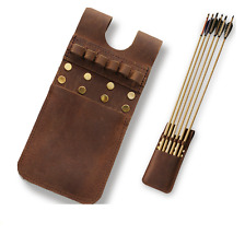 Cow Leather Back Pocket Arrow Quiver Bag Pouch 6 Arrows Holder for Recurve Bow