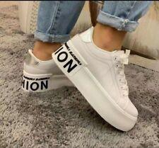 Damen Schuhe Sneaker Weiß Silber Schwarz Plateau