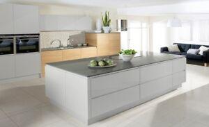 Malmo Cashmere High Gloss (burbidge) handle-less Kitchen, Rigid Built units