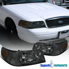 1998-2011 Ford Crown Victoria Smoke Lens Headlights w/ Corner Signal Lamps