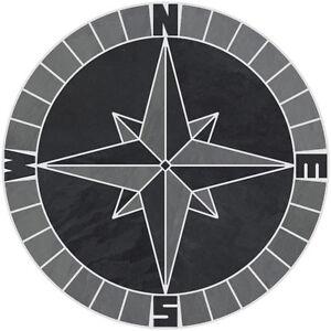 "16"" Tile Mosaic Medallion Mariners Compass Gray Black Slate Backsplash Flooring"
