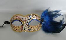 Mardi Gras Blue Feather Venetian Party Masquerade Mask * NEW *