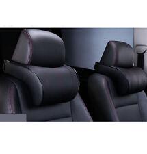 2pcs Ergonomic Memory Cotton Headrest Black PU Leather Neck Rest Cushion Pillows