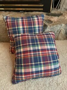 "2 16"" Ralph Lauren Fabric Red Yellow Blue Plaid Decorative Throw Pillow COVERS"