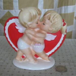 Vintage Lefton Kissing Cousins Valentine Heart Flower Planter Original Tag #2773