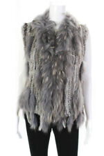 Designer Womens Rabbit Fur Vest Gray Size Medium