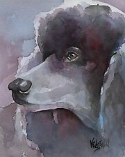 Poodle Art Print Signed by Artist Ron Krajewski Painting 8x10 Dog Black