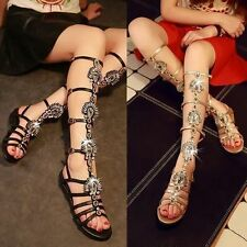 Bling Rhinestones Gladiator Womens Roman Hollow Out Knee High Sandals Boots Size