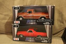 2 Motormax Trucks Lot 1970 Chevy El Camino SS 396, 1979 Ford F-150 Custom 1:24