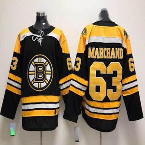 Boston Bruins 63 Brad Marchand Jersey Black White Stitched Men's Ice Hockey