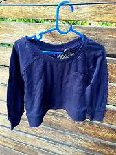 Cotton On kids girls Navy Long Sleeves Crew Neck Short design Tops RRP$16.95