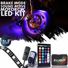 14pc Motorcycle LED UnderGlow Lights Kit Kawasaki Vulcan S 1700 w Power Switch