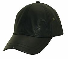 STETSON Cap-Premium Pebble Grain Leather Cow Hide-Baseball/Ballcap-Black HAT