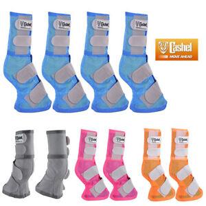 4 Pack Cashel Fly Prevention Horse Leg Guard Mesh Boots Blue Pink Orange Grey U-