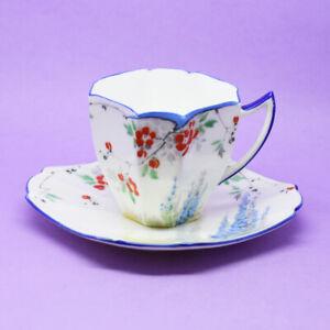 Shelley Queen Anne Shape'Garden Scene'11668 Demitasse Cup Saucer Vintage England