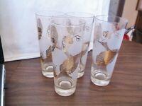 4 Vintage Gold Embossed Pilsners Glasses Tumblers, Very Retro