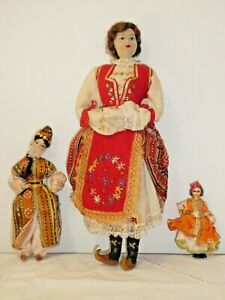 3 Hand Made Dolls From Turkey Hand Embroidered Dress Curl Toe Shoes Colourful