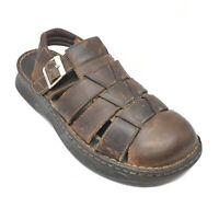 Men's Born Fisherman Sandals Shoes Size 11 M US/45 EU Brown Leather Casual L8