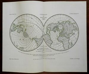 Northern & Southern Hemispheres Isothermal lines 1851 Berghaus scientific map