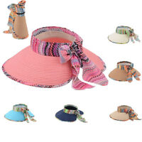New Ladies Women Summer Sun Beach Foldable Roll Up Wide Brim Straw Visor Hat Cap