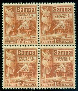 SAMOA #144a 1 1/2p orange, perf 14 x 13 1/2, Block of 4, og, NH, VF