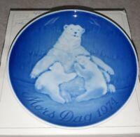 Bing & Grondahl 1974 MOTHERS DAY PLATE Polar Bear W/ Cubs Mors Dag Porcelain
