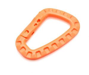 10 X Carabiner - Molle Orange 8,5 CM Modular Geocaching Backpack Plastic Carabin