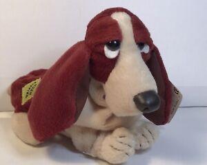 Rare Applause Hush Puppies Basset Hound Dog Plush Stuffed Animal Beanie Brown