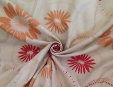 39 Metres Art Deco Floral Tapestry Weave Curtain Fabric In Cranberry & Peach