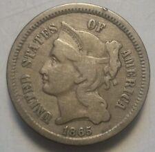 1865 3 CENT NICKEL CILVIL WAR COIN