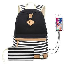 Women Girls School Backpack College Book Bag Travel Laptop Bagpack With USB Port