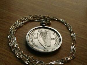 "1933 Ireland Harp & Bull Silver Shilling Pendant on a 28"" 925 Wavy Silver Chain"