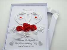 WEDDING DAY Handmade Personalised Card ENGAGEMENT 40th Anniversary RUBY Box 3D