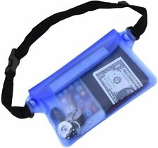 Blue Waterproof Pouch Bag Case with Waist Strap for Beach, Swimming, Boating