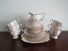 TUSCAN FINE ENGLISH BONE CHINA 21 PIECE TEA SET PINK FLORAL GILT MADE IN ENGLAND